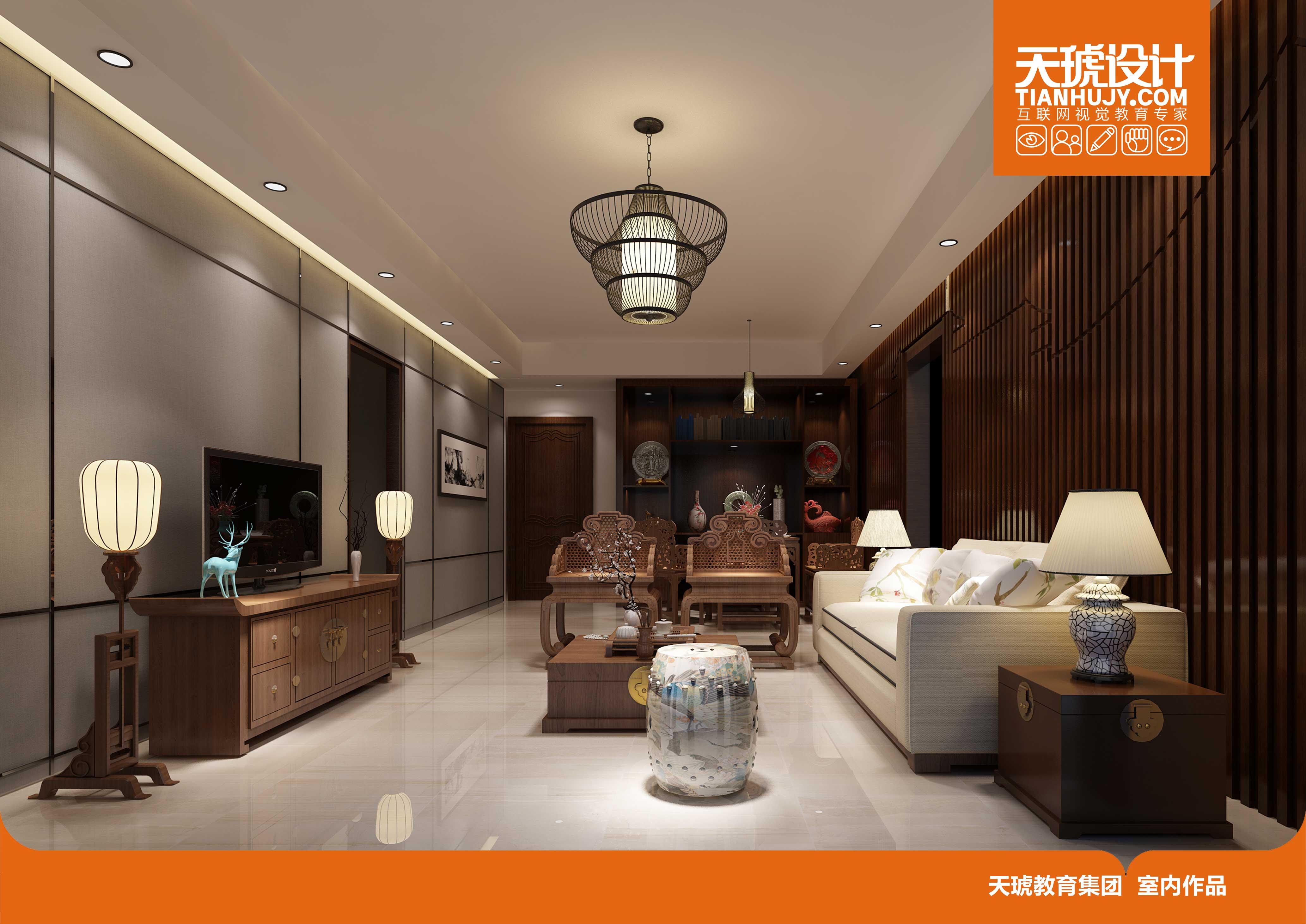 新中式客厅效果图设计 - 室内设计学员作品
